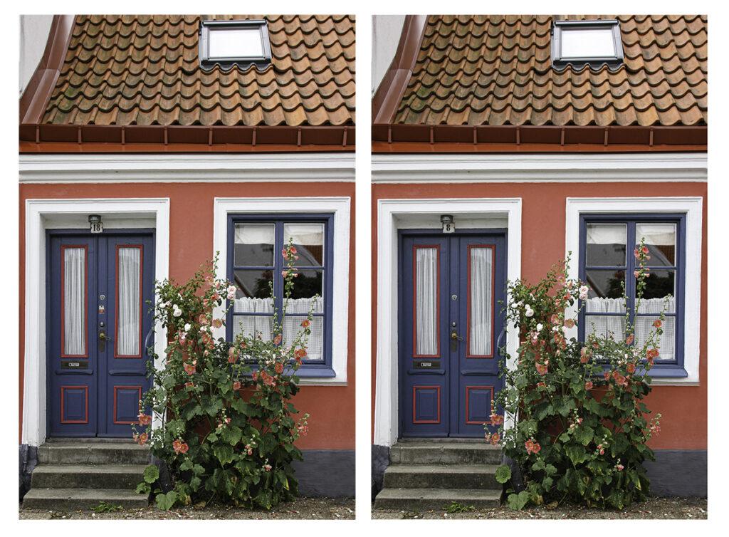 Finn fem fel, bildfråga om en bild av en vacker husfasad i Ystad